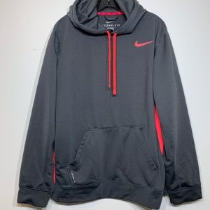 EUC Nike Therma Fit Fleece Lined Gray/Pink Hoodie